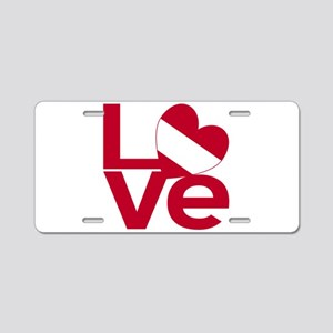 Red Austrian LOVE Aluminum License Plate